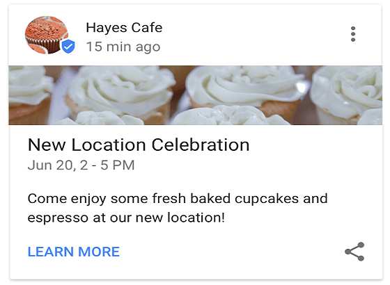 Post em busca local no Google Meu Negócio