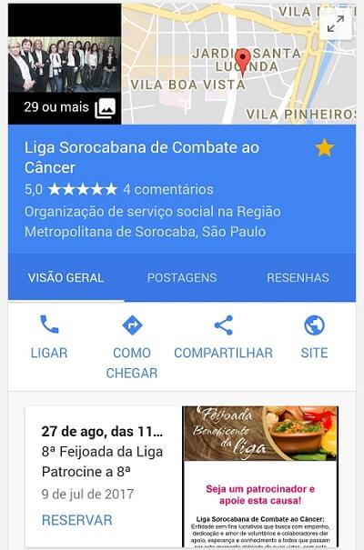 Postagem Google Meu Negócio para resultados locais do Google
