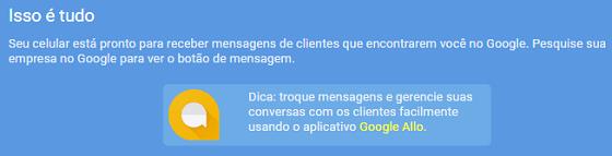 Chat por aplicativo Allo no Google Meu Negócio