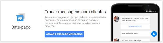 Ativar mensagem via chat no Google Meu Negócio