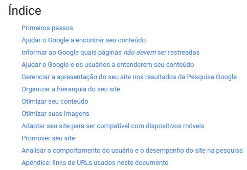 Índice do Guia Google SEO para Iniciantes 2017