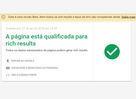 Teste de Rich Results do Google