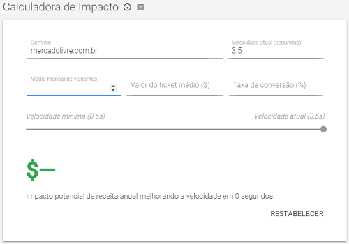 Calculadora de Impacto do Google Speed Scorecard
