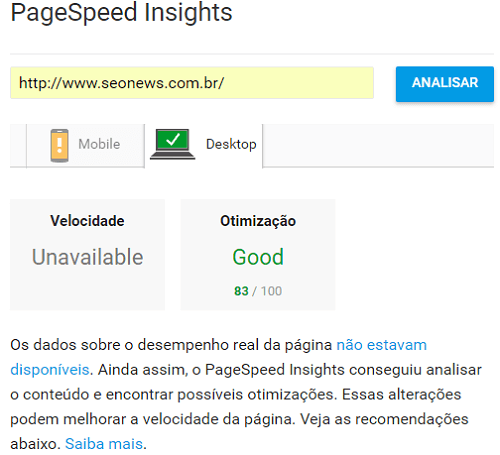 Ferramenta Google Page Speed