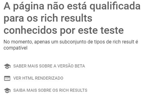 Página não qualificada para Google Rich Results