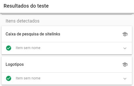 Resultado Rich Results da ferramente de teste de resultados avançados do Google