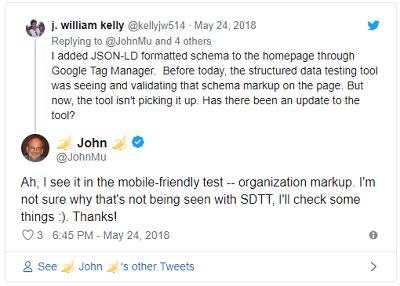 Tweet de John Mulller sobre JSON-LD por Google Tag Manager na Ferramenta de Teste de Dados Estruturados