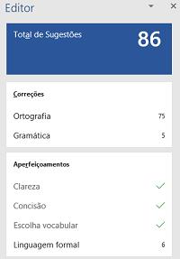 Imagem exemplo do validador de legibilidade do Microsoft Word