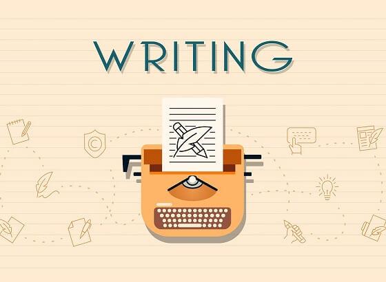 Folha de papel rosa pautada, com desenho de uma máquina de escrever laranja ao centro. Há na máquina um papel com um lápis e uma pena desenhados. Ao alto, esctito Writing em azul
