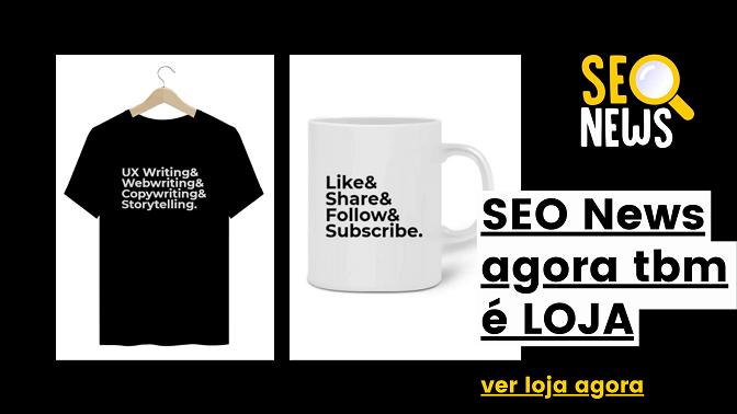 Camiseta preta com estampa Writing e caneca branca com estampa frases de Social Media e texto SEO News agora tbm é LOJA