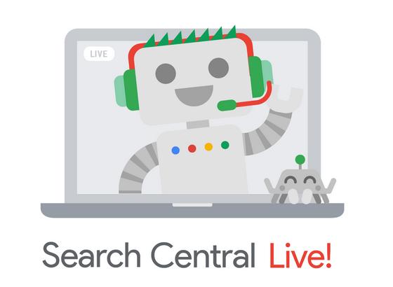 Desenho de notebook com robozinho feliz dentro - logo oficial do evento Google Search Central Live!