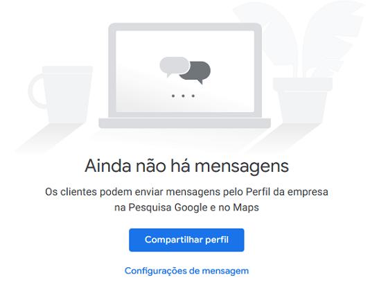 Print do painel Google Meu Negócio sobre ativar recurso de mensagens